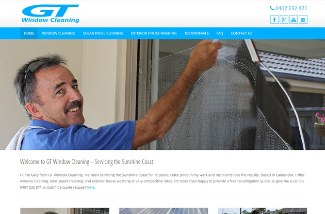 Screenshot of the gtwindowcleaning.com.au website home page.