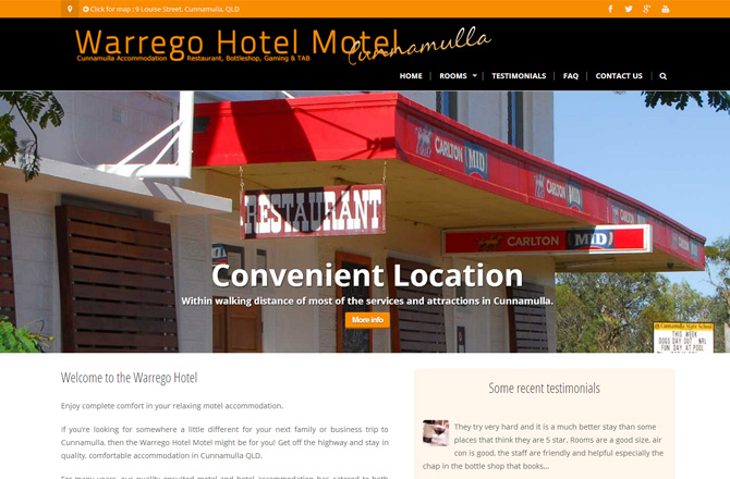 Screenshot of the http://warregohotel.com.au website home page.