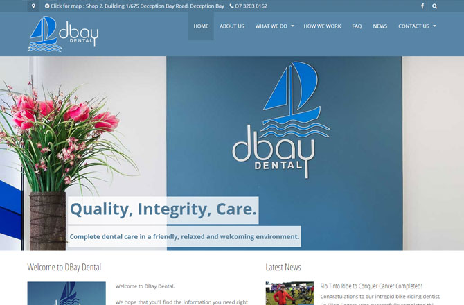 Screenshot of the dbaydental.com.au website home page.