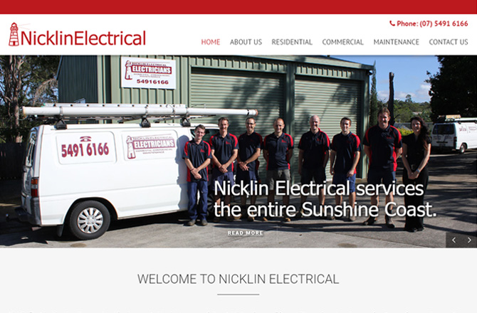 A screenshot of the Nicklin Electrical website designed by Partner Digital