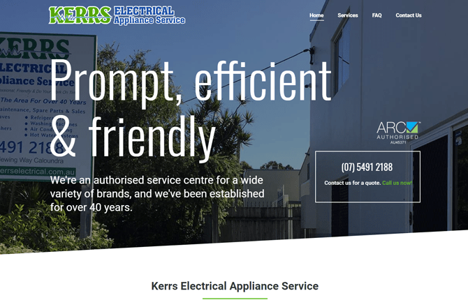 Kerrs Electrical Caloundra Website