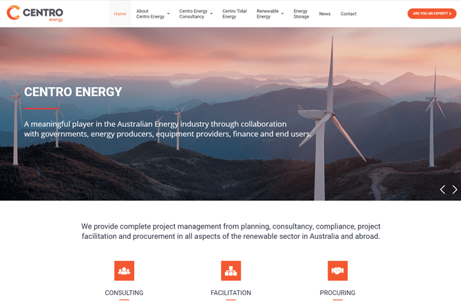 Centro Energy website screenshot