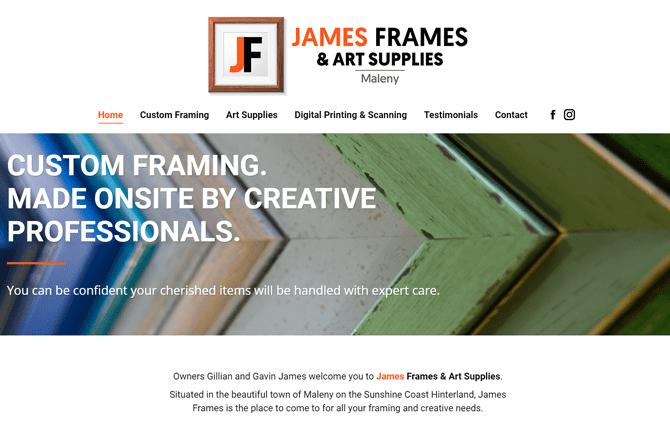 James Frames Maleny website screenshot